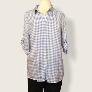 FDJ Blue White Gingham Top Size 8